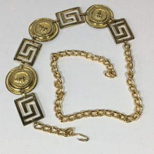 Vintage Gold Medallion Lion Head Chain Belt Boho